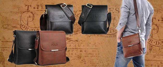 Pánska kožená taška POLO v čiernom alebo hnedom prevedení