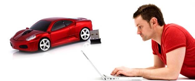 Bezdrôtová počítačová myška v tvare autíčka
