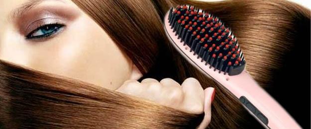 Digitálna antistatická keramická žehlička s kefou na vlasy