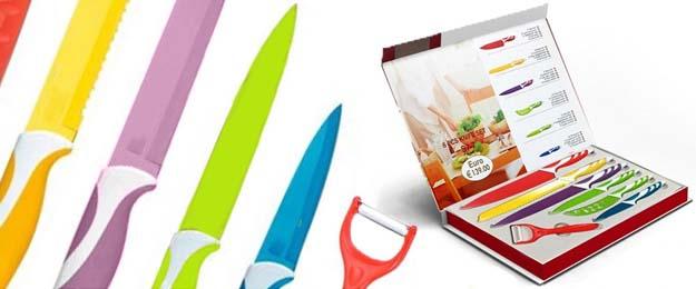 Sada 6 farebných nožov so škrabkou