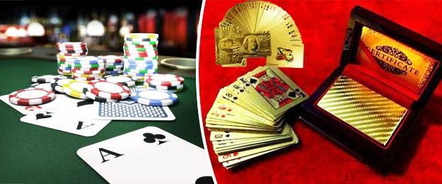 Zlaté pokrové karty v elegantnom mahagónovom boxe