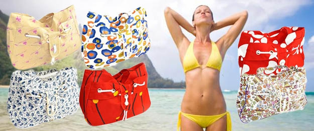 Plážové tašky v rôznych farbách a motívoch