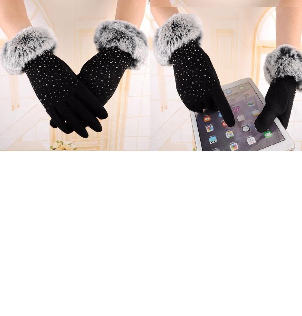 Dámske zimné rukavice s kožušinkou