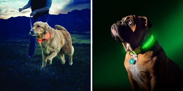 Vodeodolný a umývateľný obojok pre psa s rôznymi možnosťami svietenia