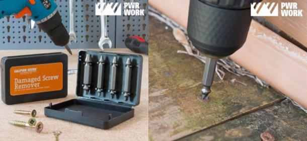 Vrtáky pre odstránenie poškodených skrutiek PWR WORK (4 KUSY)