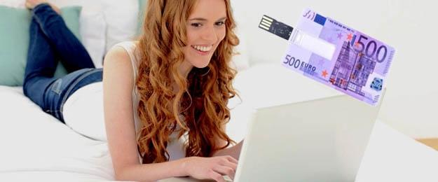 16GB USB kľúč v tvare kreditky s motívom 500 €