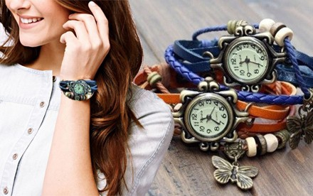 Retro hodinky v s listom alebo motýlikom rôznych farbách
